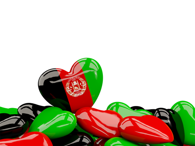 Heart with border. Illustration of flag of Afghanistan.
