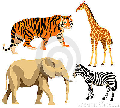 African Animal Silhouettes Stock Vector.