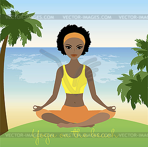 Cartoon african american woman meditating in lotus.