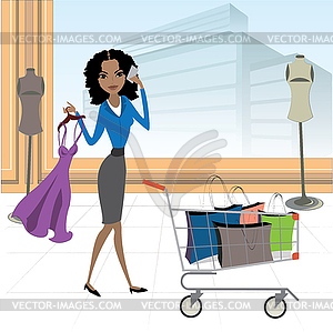 African american woman with shopping cart and.