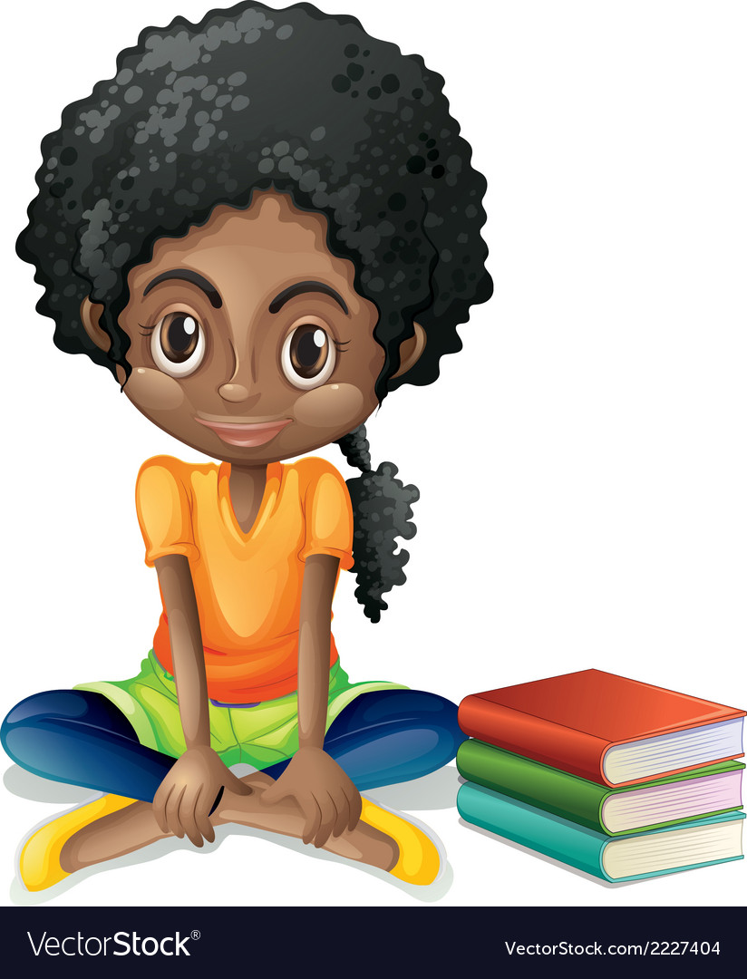 A young Black girl sitting beside her books.