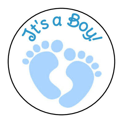 24 ITS A BOY BABY BLUE FEET SHOWER FAVOR LABELS ROUND STICKERS 1.67 \