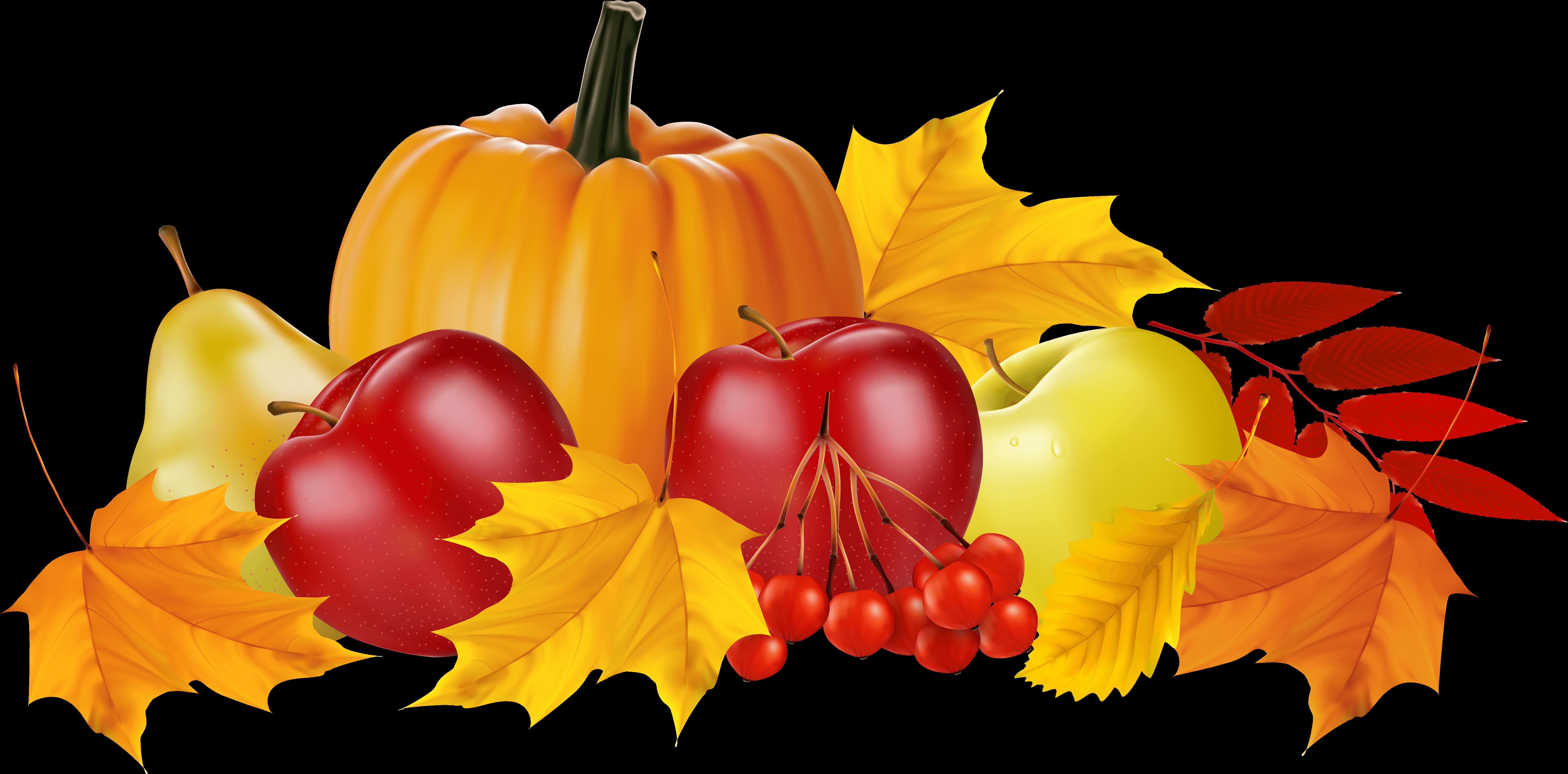Autumn Pumpkin And Fruits Png Clipart Image Transparent.