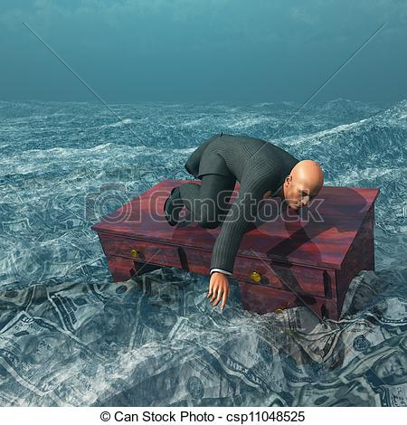 Clip Art of Man afloat on desk in sea of currency csp11048525.