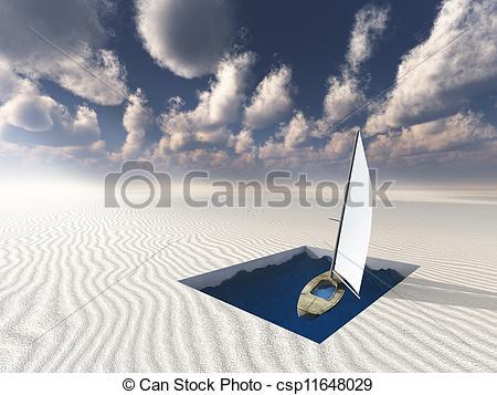 Clip Art of Landlocked Boat afloat in useless pool csp11648029.