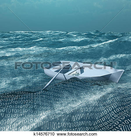 Stock Illustrations of Empty rowboat afloat on binary ocean.