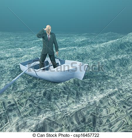 Clip Art of Man afloat in tiny boat on sea of currency csp16457722.