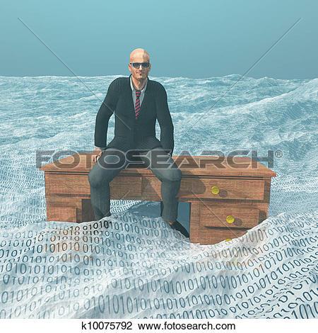 Clip Art of Businessman on desk afloat on binar k10075792.