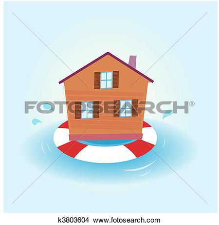 Clipart of House flood.