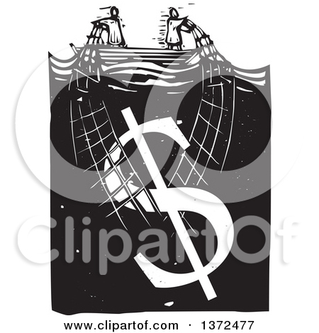 Clipart of a Black and White Woodcut Couple Trying to Stay Afloat.