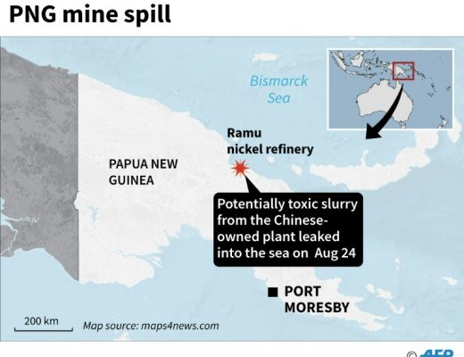 Mine spill turns PNG coastline red.