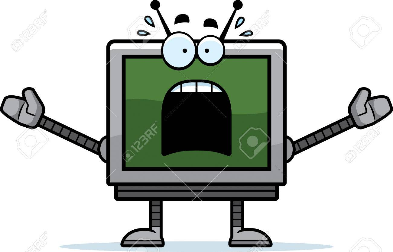 A cartoon illustration of a computer monitor robot looking scared..