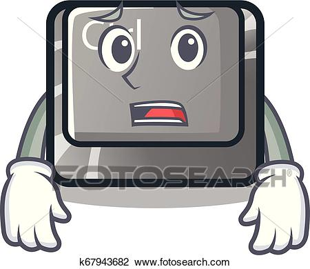 Afraid character ctrl button attached on computer Clipart.