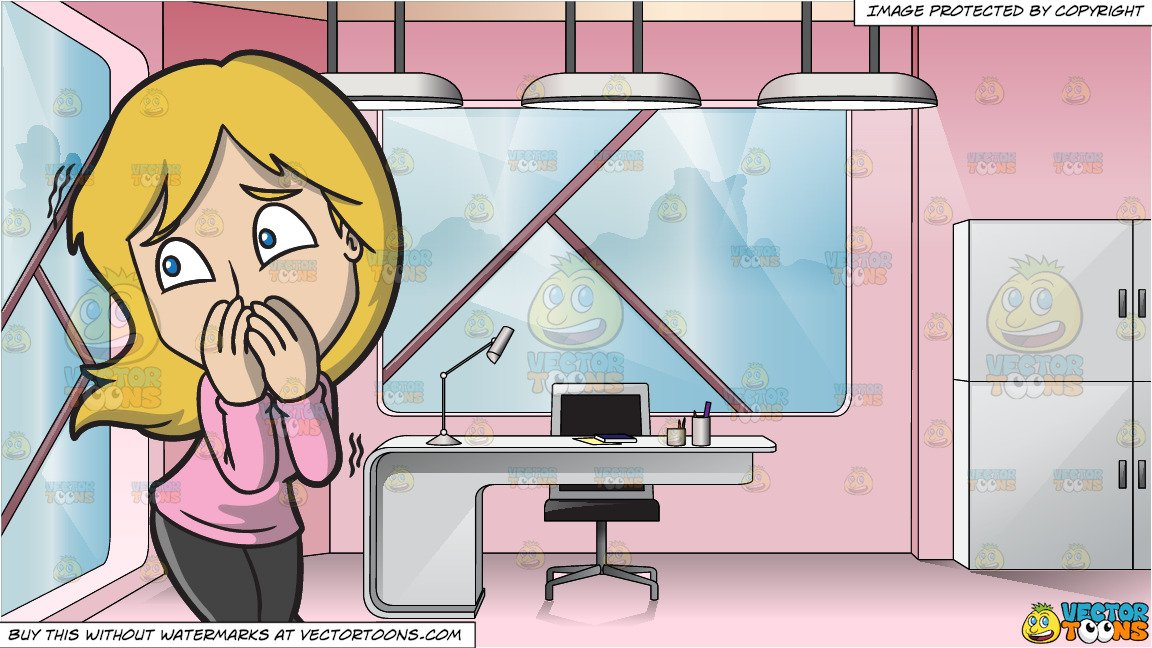 A Woman Afraid Of Something Or Someone and A Pretty Retro Style Office Space.