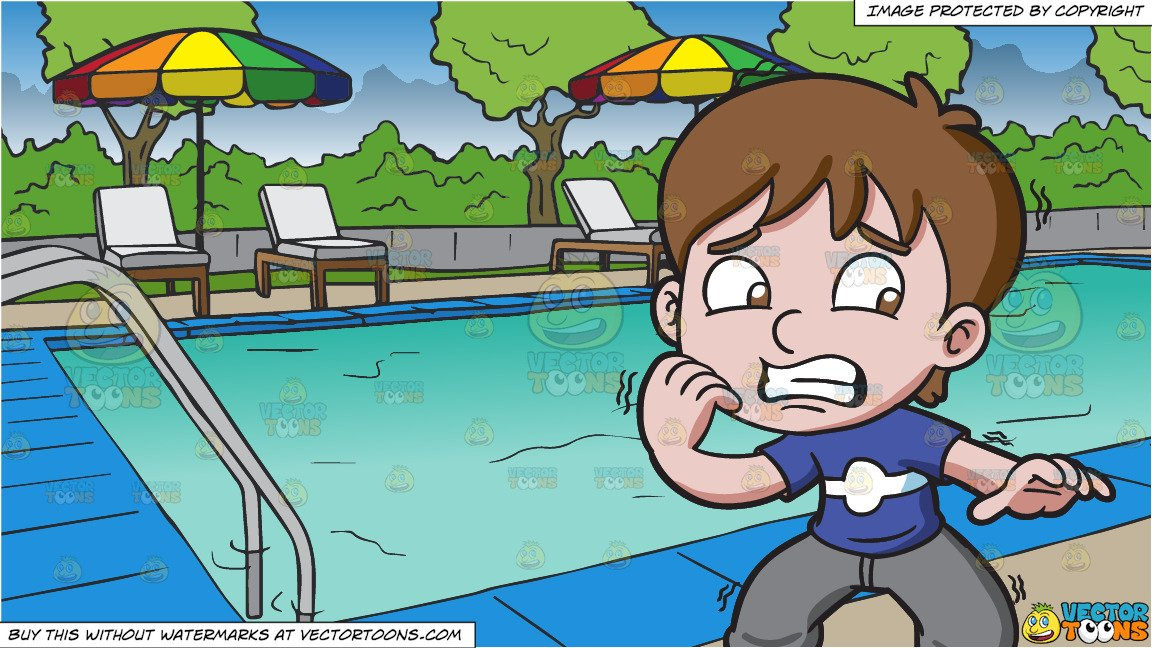 A Nervous And Scared Boy and A Swimming Pool At A Hotel Background.