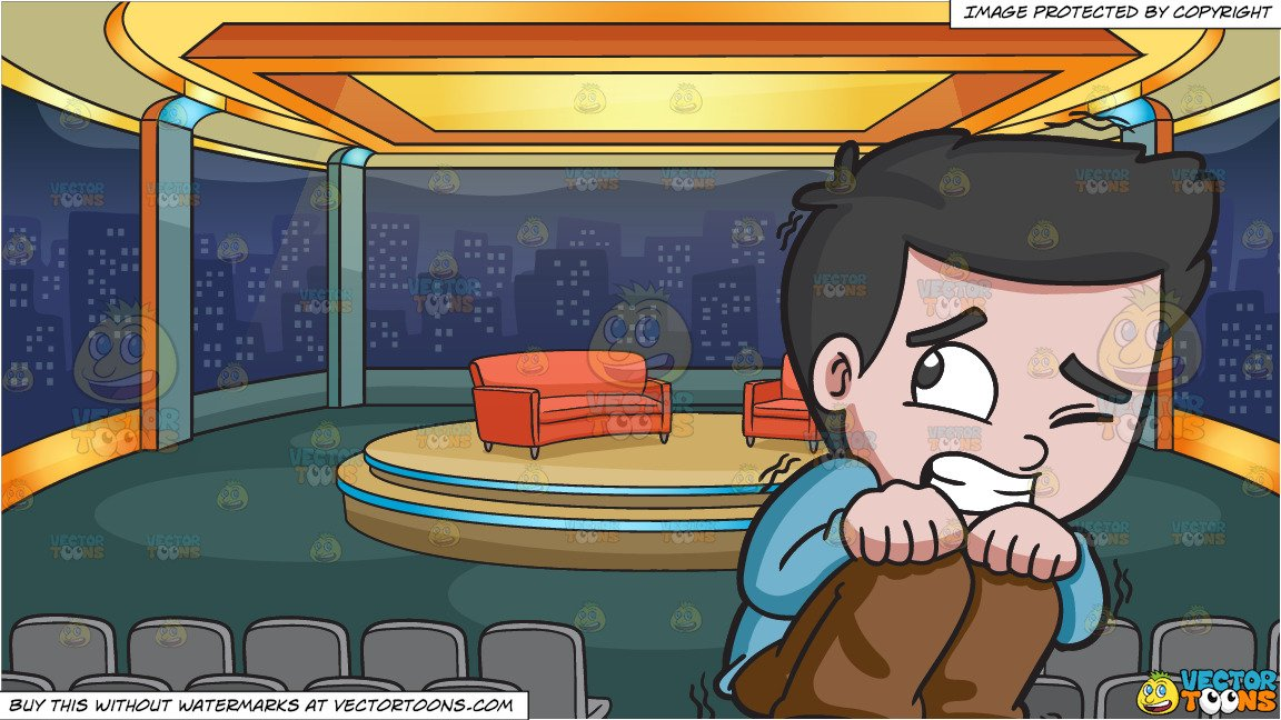 A Scared Young Boy and A Talk Show Studio Background.