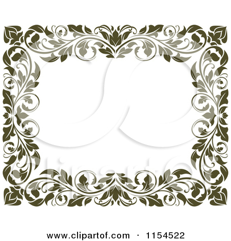 Clipart of a Frame of Ornate Vines on White.