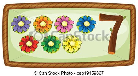 Clip Art Vector of A frame with seven flowers.