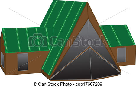 Vector Clipart of A Frame House.