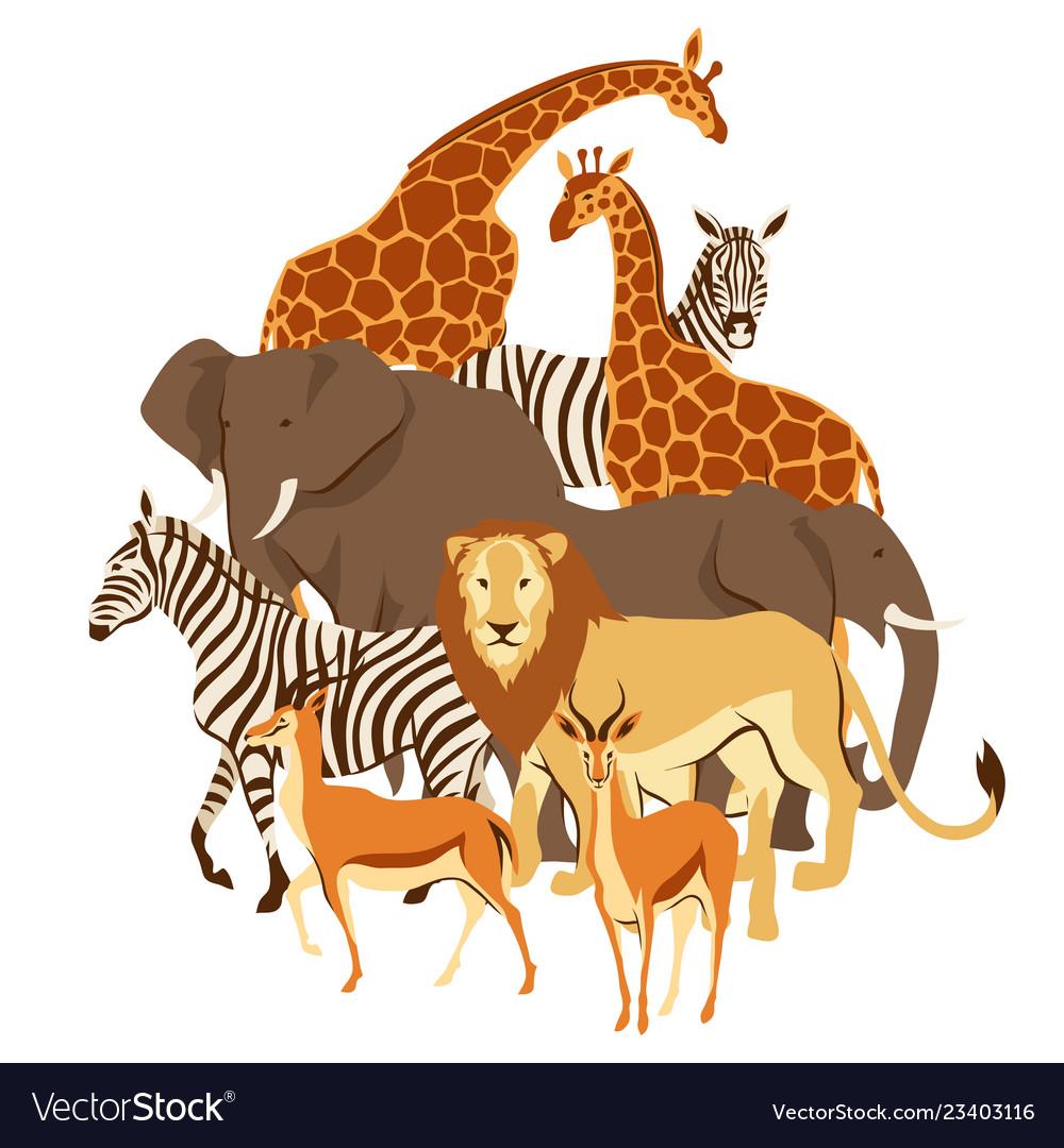Background with african savanna animals.