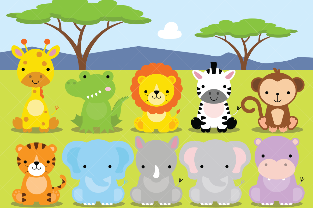 African Animals Clipart, Safari, Zoo.