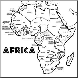Clip Art: Africa Map B&W Labeled I abcteach.com.
