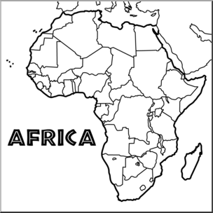 Clip Art: Africa Map B&W Blank I abcteach.com.