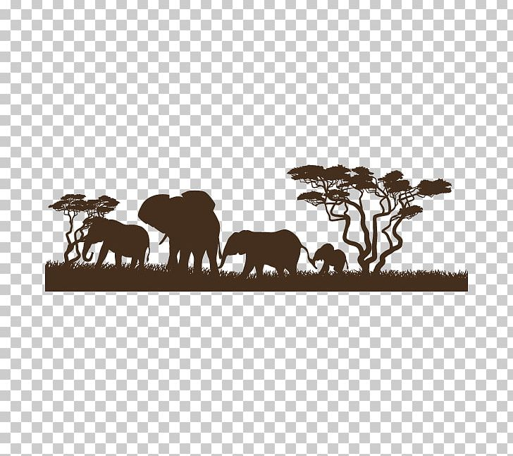Africa Sticker Wall Decal Elephants Illustration PNG.
