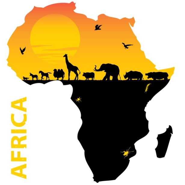 Map of The Continent of Africa: Where SO many animals, (that.
