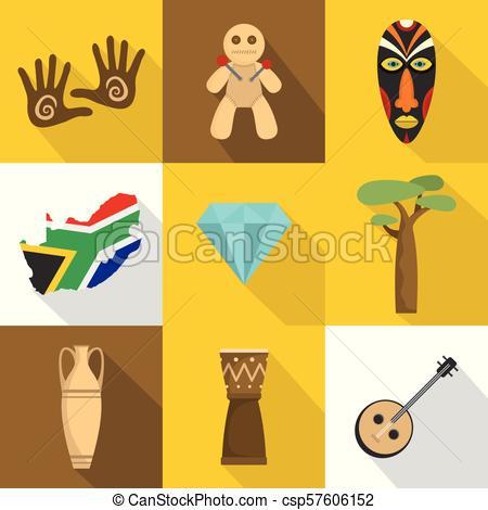 Africa icons set, flat style.