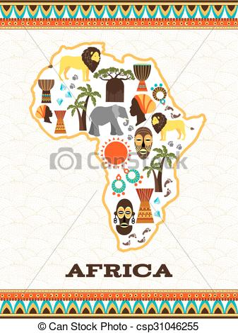 Africa map with african icons.