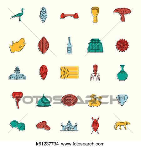 South Africa icons set, doodle style Clipart.