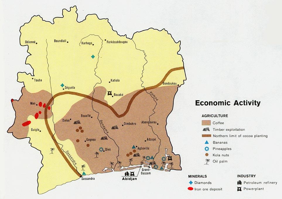 Cote d\'Ivoire (Ivory Coast) Maps.