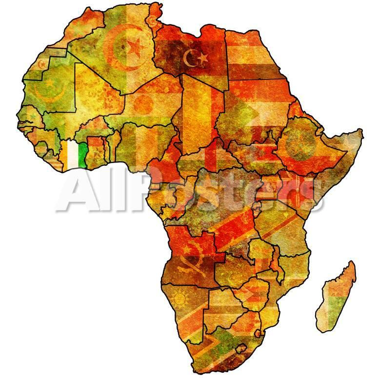 Ivory Coast on Actual Map of Africa.