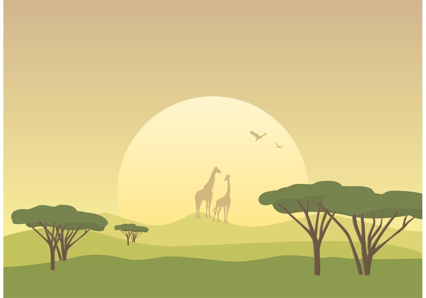 Free African Savannah Landscape Vector in 2019.