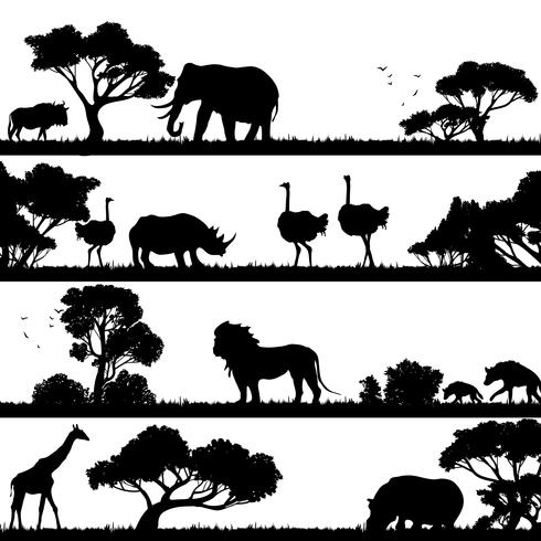 African Landscape Silhouette.