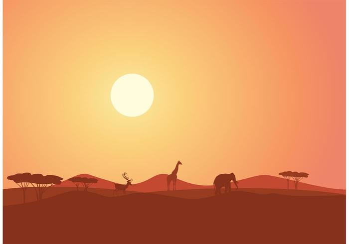 Free African Landscape At Sunset Vector.
