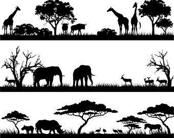 Africa, African, Landscape, Safari, Scene, Savannah, SVG.