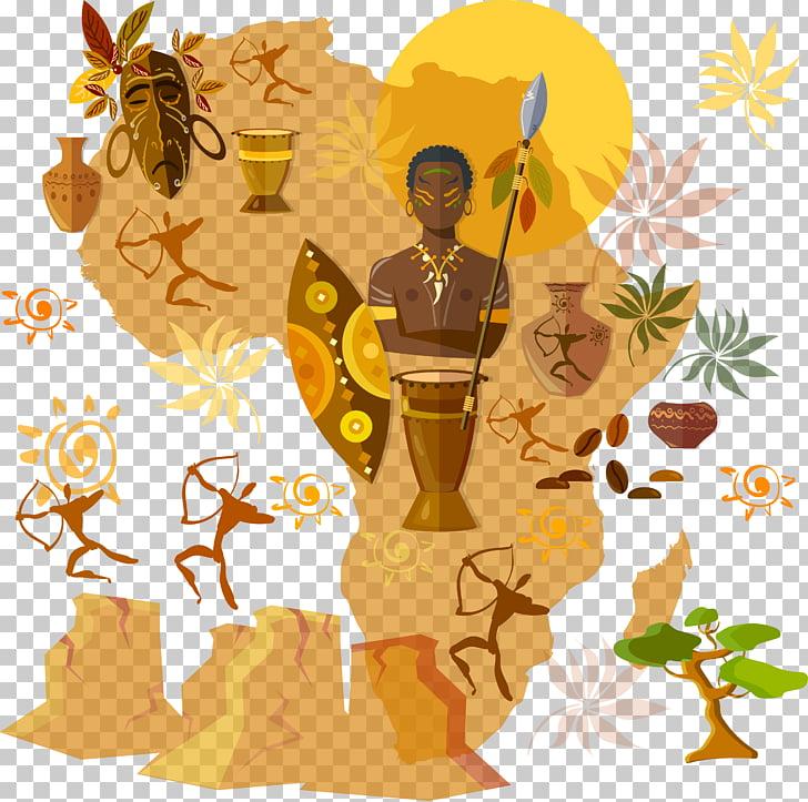 Africa Culture Tribe Illustration, African landscape.