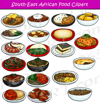 Southeast African Food Clipart Set.