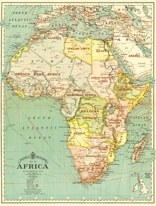 Africa digital map print. Antique Africa printable map.