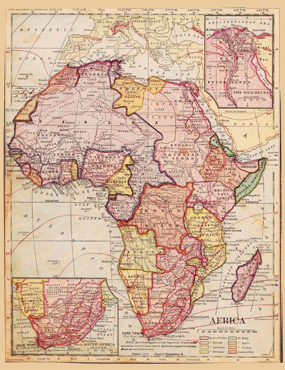 Old Map of Africa Eygpt Morocco and the Sahara Desert by.