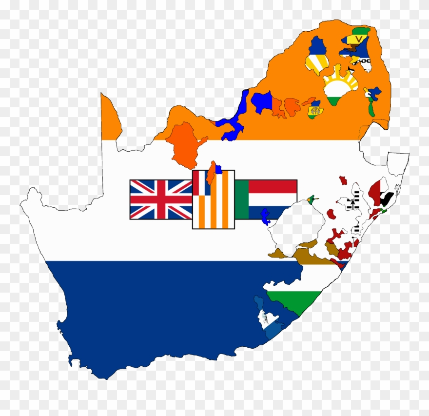 Flag Map Of South Africa 1928.
