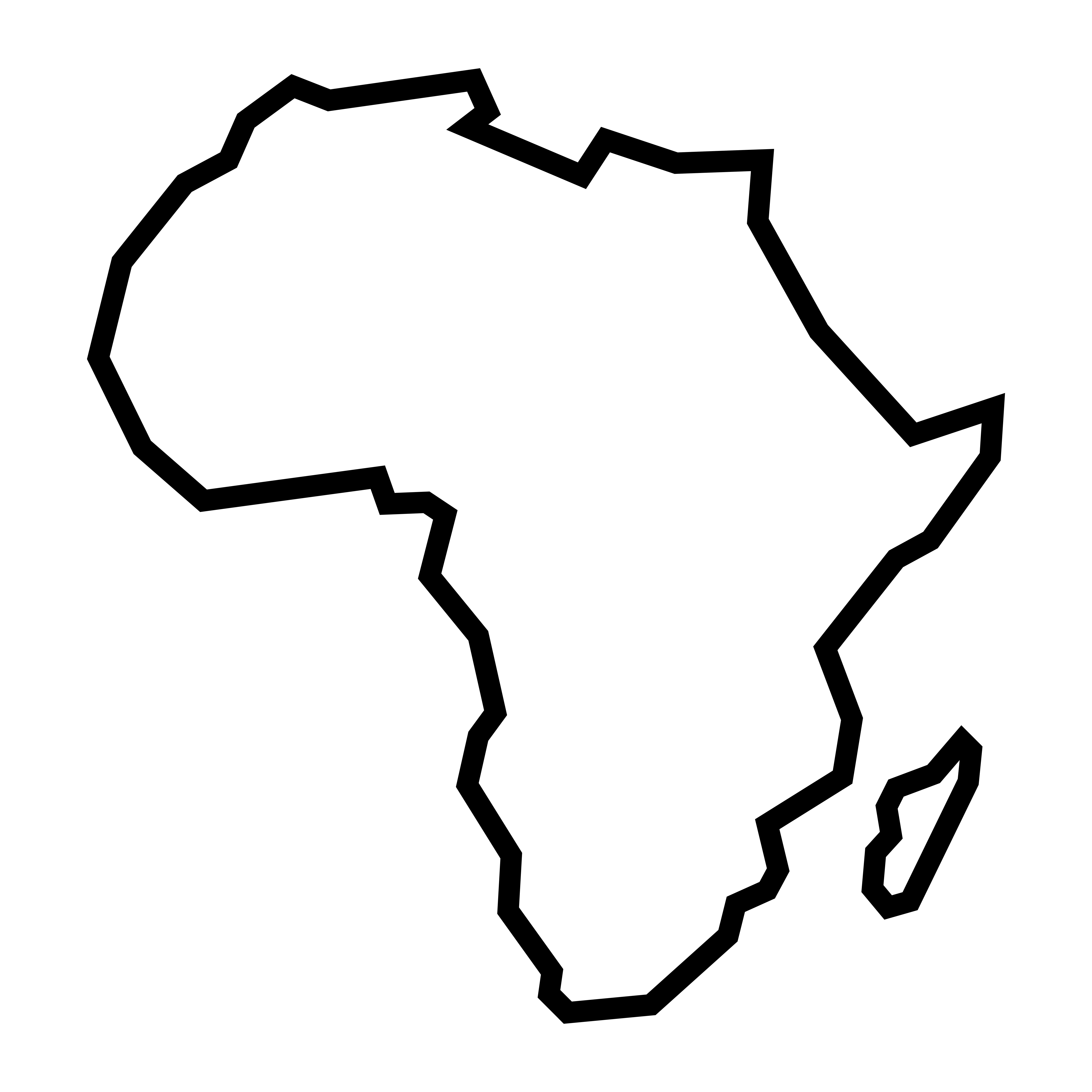Africa Continent Outline Free Vector Art.