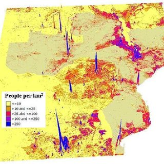 Population Density in South Eastern Africa.