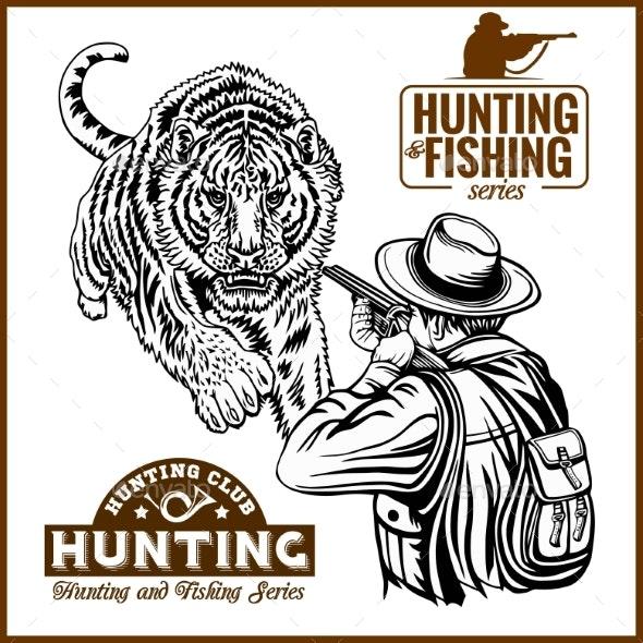 African Safari Hunting Retro Poster.