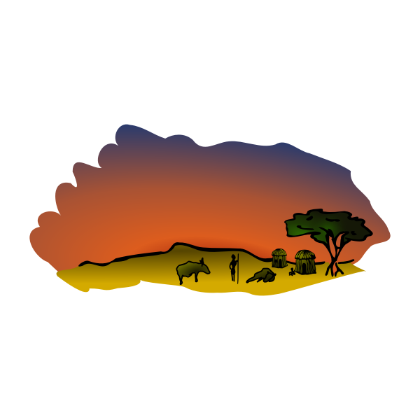 Vector clip art of African savanna scenery.