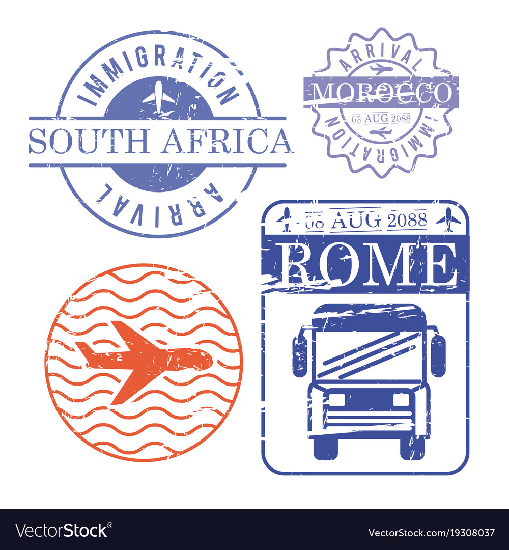 Airplane and bus travel stamps south africa.