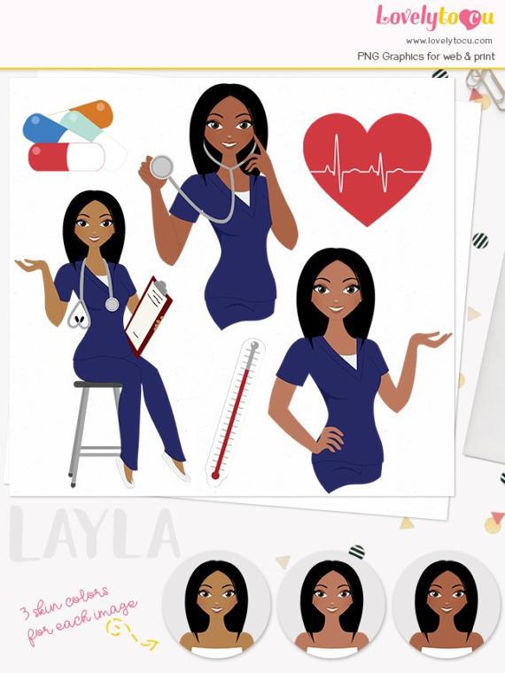 Woman nurse character clipart, healthcare illustration.