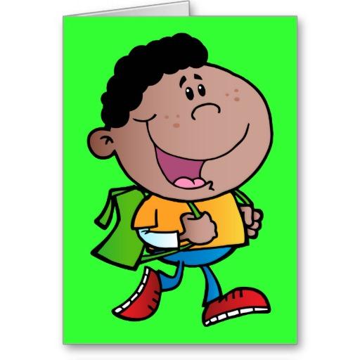 Walking School Boy African American kid cartoon Card.